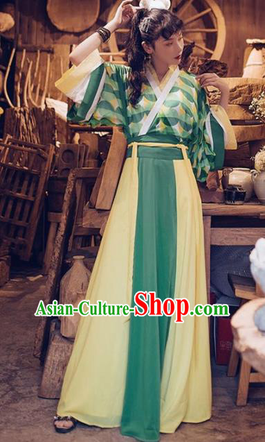 Chinese Traditional Jin Dynasty Nobility Lady Historical Costumes Ancient Peri Hanfu Dress for Women