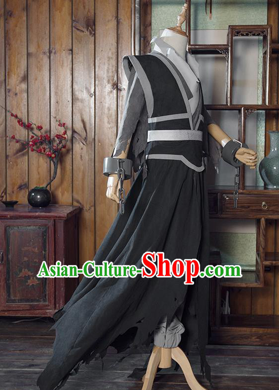 Chinese Traditional Cosplay Nobility Childe Costumes Ancient Swordsman Black Clothing for Men