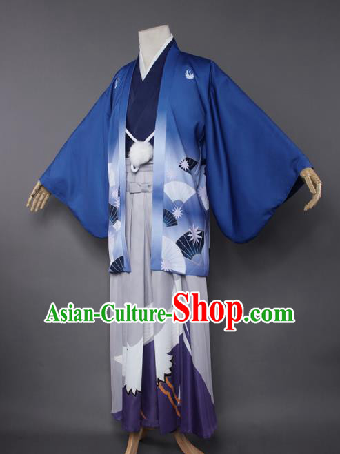 Japanese Traditional Cosplay Knight Costumes Ancient Swordsman Kimono Clothing for Men