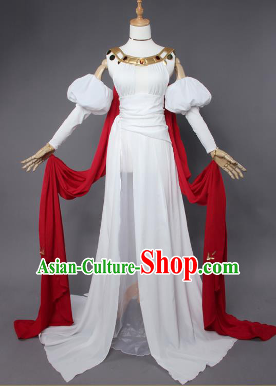 Top Grade Cosplay Princess Costumes Ancient Swordswoman White Dress for Women