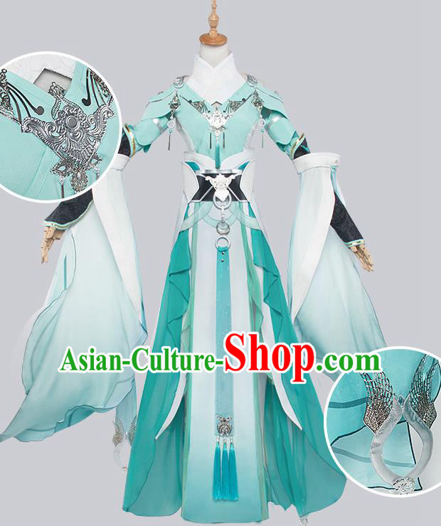 Top Grade Chinese Cosplay Costumes Ancient Swordswoman Green Dress for Women