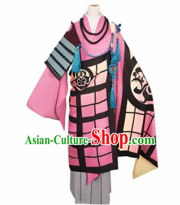 Chinese Traditional Cosplay Monks Pink Costumes Ancient Swordsman Clothing for Men