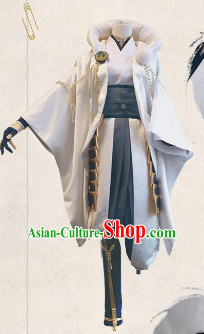 Chinese Traditional Cosplay Warrior White Costumes Ancient Swordsman Clothing for Men