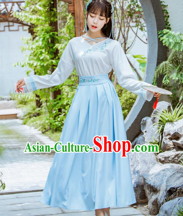 Chinese Ancient Hanfu Dress Ming Dynasty Young Lady Embroidered Costumes for Women