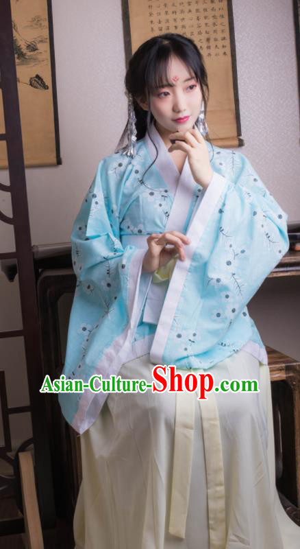 Chinese Ancient Peri Blue Hanfu Dress Han Dynasty Princess Costumes for Women