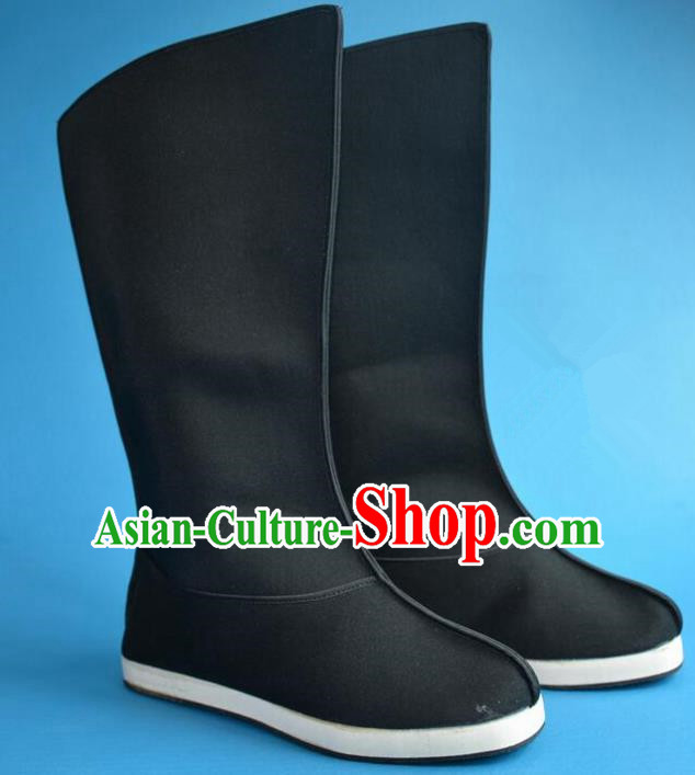 Chinese Traditional Beijing Opera Swordsman Shoes Ancient Qing Dynasty Imperial Bodyguard Black Boots for Men