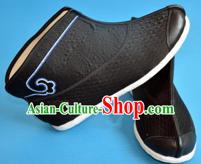Chinese Traditional Beijing Opera Swordsman Shoes Ancient Song Dynasty Knight Black Boots for Men
