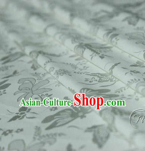Asian Chinese Traditional White Jacquard Silk Fabric Ancient Hanfu Brocade Fabric Drapery Material