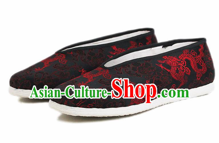 Chinese National Shoes Traditional Embroidered Dragon Cloth Shoes Black Satin Shoes for Men