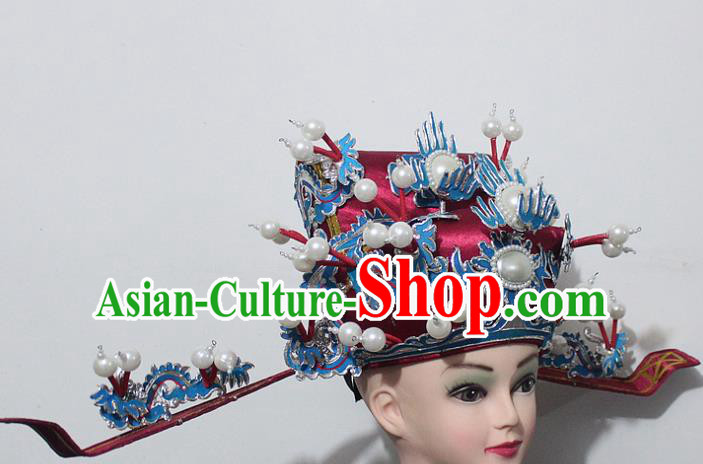 Chinese Traditional Peking Opera Prime Minister Red Hat Ancient Chancellor Headwear for Men