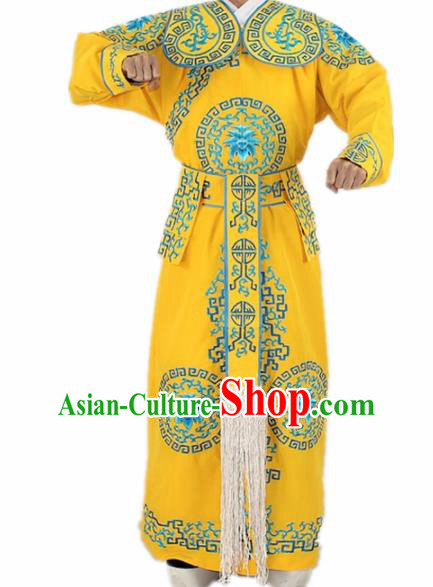 Chinese Traditional Peking Opera Takefu Yellow Costumes Ancient Swordsman Clothing for Men