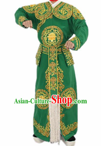 Chinese Traditional Peking Opera Takefu Green Costumes Ancient Swordsman Clothing for Men