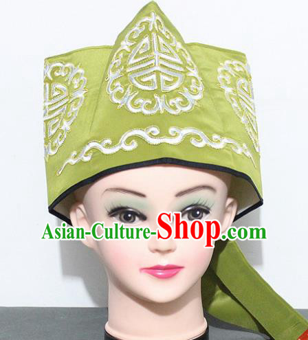 Chinese Traditional Peking Opera Old Gentleman Hat Ancient Ministry Councillor Green Hat for Men