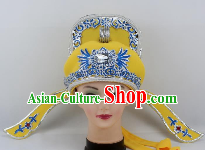 Chinese Traditional Peking Opera Niche Hats Ancient Scholar Yellow Hat for Men