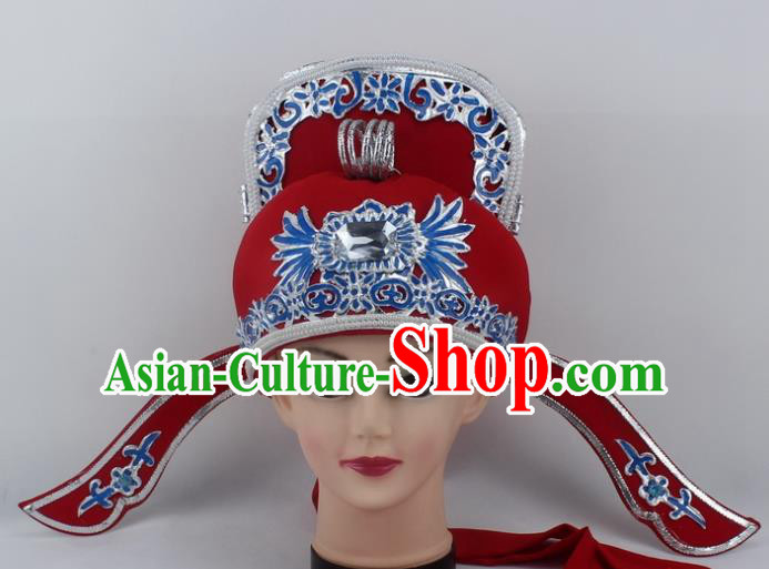 Chinese Traditional Peking Opera Niche Hats Ancient Scholar Red Hat for Men