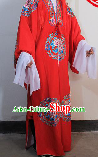 Chinese Traditional Peking Opera Niche Embroidered Robe Ancient Bridegroom Scholar Red Costumes for Men