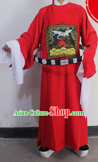 Chinese Traditional Peking Opera Niche Red Robe Ancient County Magistrate Costumes for Men