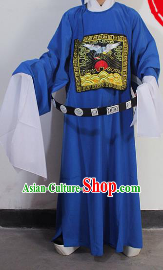 Chinese Traditional Peking Opera Niche Blue Robe Ancient County Magistrate Costumes for Men