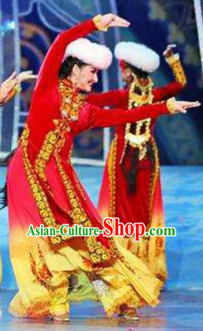 Chinese Traditional Ethnic Costumes Uyghur Minority Nationality Dance Red Dress for Women