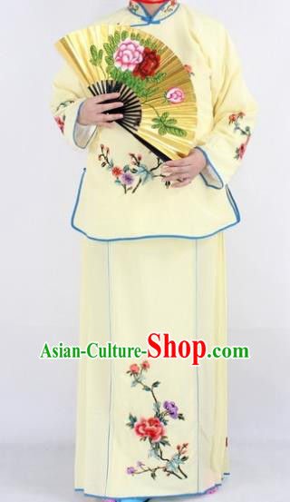 Chinese Traditional Peking Opera Young Lady Costumes Ancient Maidservants Yellow Dress for Women