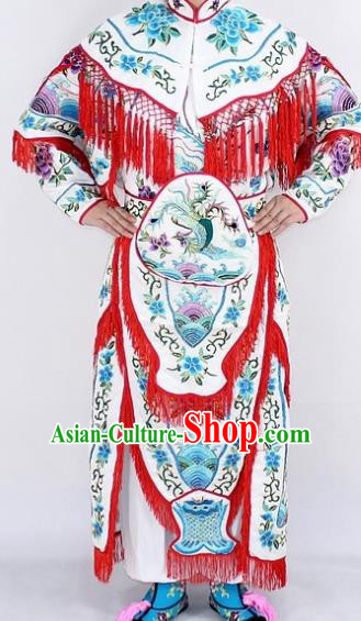 Chinese Traditional Peking Opera Young Lady Costumes Ancient Female General White Dress for Women