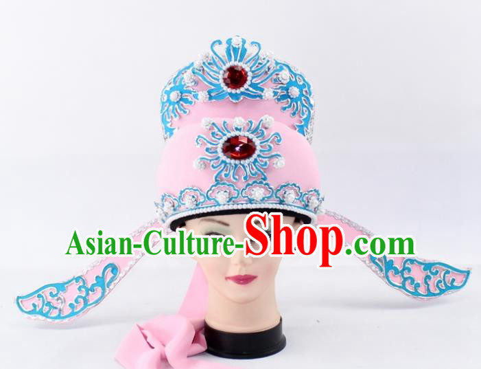 Chinese Traditional Peking Opera Niche Headwear Ancient Number One Scholar Pink Hat for Men