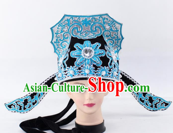 Chinese Traditional Peking Opera Niche Headwear Ancient Scholar Black Hat for Men