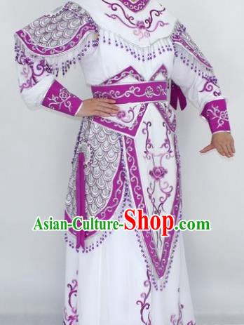 Chinese Traditional Peking Opera Purple Costumes Ancient Female General Clothing for Women