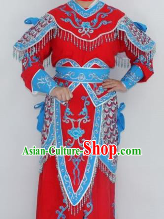 Chinese Traditional Peking Opera Red Costumes Ancient Female General Clothing for Women