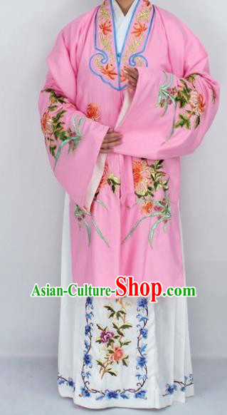 Chinese Traditional Peking Opera Diva Costumes Ancient Princess Embroidered Chrysanthemum Pink Dress for Women