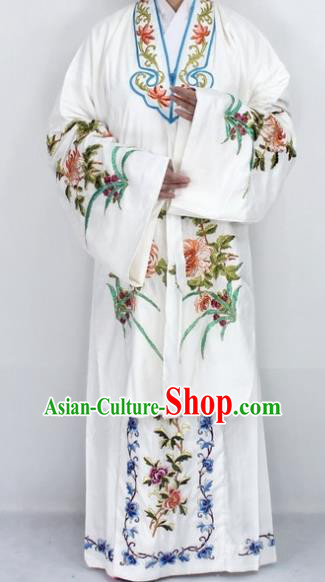 Chinese Traditional Peking Opera Diva Costumes Ancient Princess Embroidered Chrysanthemum White Dress for Women