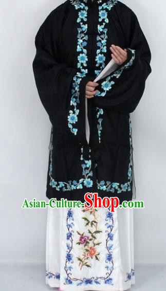Chinese Traditional Peking Opera Diva Black Costumes Ancient Princess Embroidered Cloak for Women