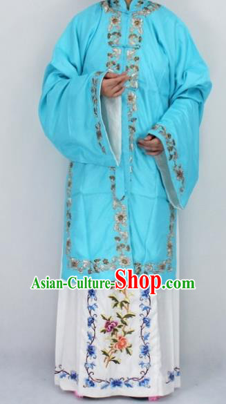 Chinese Traditional Peking Opera Diva Blue Costumes Ancient Princess Embroidered Cloak for Women