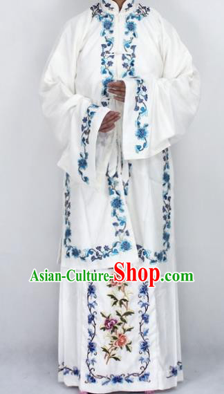 Chinese Traditional Peking Opera Diva White Costumes Ancient Princess Embroidered Cloak for Women