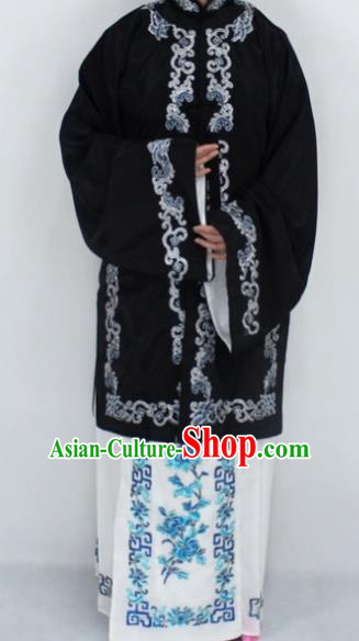 Chinese Traditional Peking Opera Nobility Lady Costumes Ancient Embroidered Black Dress for Women