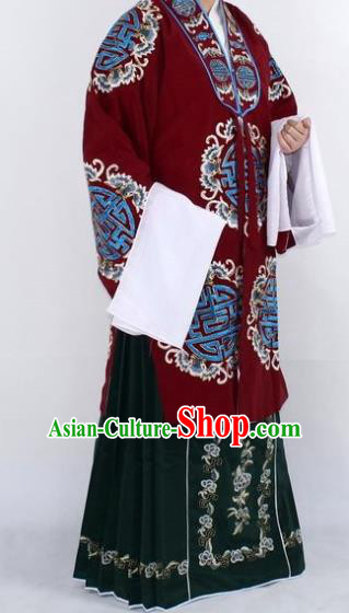 Chinese Traditional Peking Opera Pantaloon Costumes Ancient Landlord Shiva Purplish Red Cloak for Women