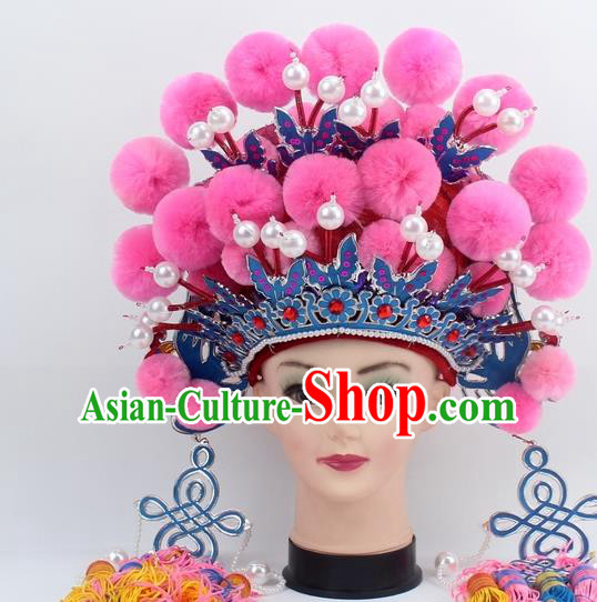 Chinese Traditional Peking Opera Pink Venonat Phoenix Coronet Ancient Bride Hair Accessories for Women