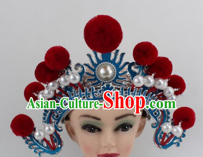 Chinese Traditional Peking Opera Blues Red Venonat Helmet Ancient Magic Warriors Hat for Women