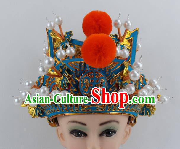 Chinese Traditional Peking Opera Takefu Helmet Ancient Warriors Hat for Men