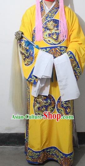 Chinese Traditional Peking Opera Court Eunuch Yellow Embroidered Robe Ancient Costumes for Men