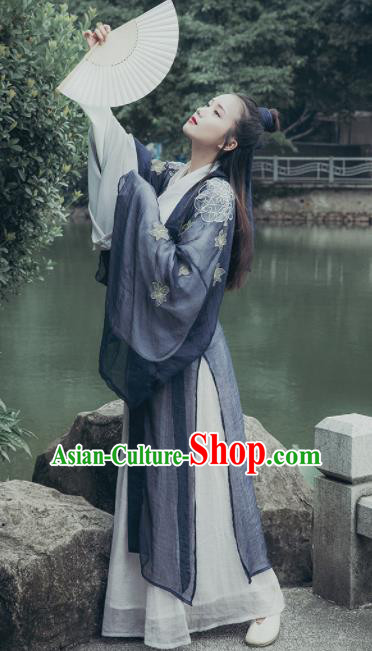 Chinese Ancient Jin Dynasty Nobility Lady Hanfu Dress Traditional Swordswoman Embroidered Costumes Complete Set