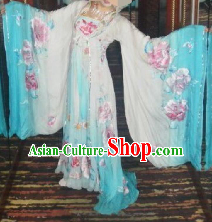Traditional Chinese Classical Dance Embroidered Costumes Ancient Tang Dynasty Imperial Consort Blue Hanfu Dress for Women