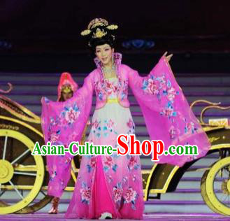 Traditional Chinese Classical Dance Embroidered Costumes Ancient Tang Dynasty Imperial Consort Rosy Hanfu Dress for Women