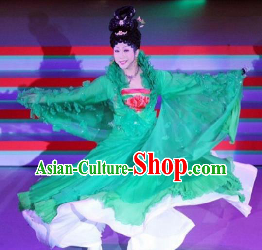 Traditional Chinese Tang Dynasty Classical Dance Embroidered Costumes Ancient Imperial Consort Green Hanfu Dress for Women