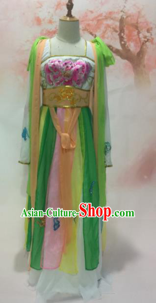 Traditional Chinese Classical Dance Embroidered Costumes Ancient Peri Goddess Green Hanfu Dress for Women