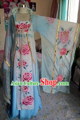 Traditional Chinese Classical Dance Costumes Ancient Imperial Consort Embroidered Blue Hanfu Dress for Women