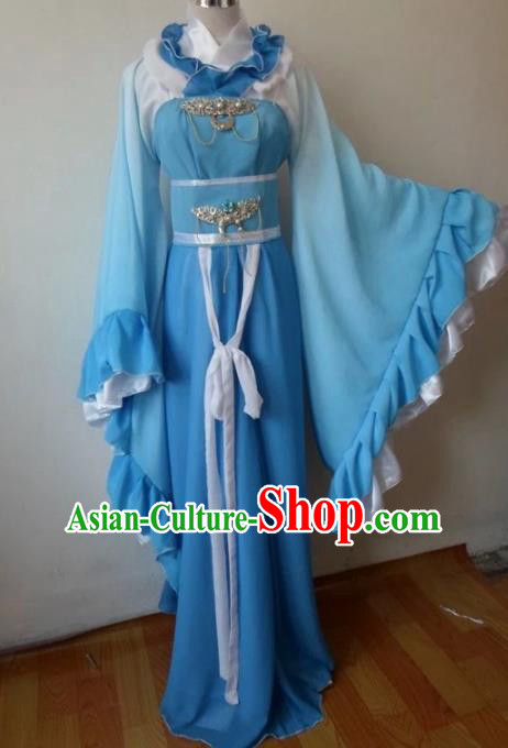 Traditional Chinese Han Dynasty Classical Dance Costumes Ancient Princess Blue Hanfu Dress for Women