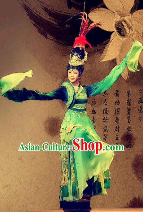 Traditional Chinese Han Dynasty Classical Dance Costumes Ancient Imperial Consort Embroidered Green Hanfu Dress for Women