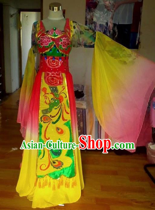 Traditional Chinese Classical Dance Embroidered Costumes Ancient Peri Princess Hanfu Dress for Women