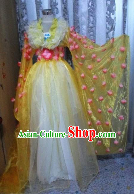 Traditional Chinese Classical Dance Embroidered Costumes Ancient Peri Yellow Hanfu Dress for Women
